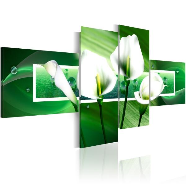 Obraz - Zielone kalie (100x45 cm) A0-N1312