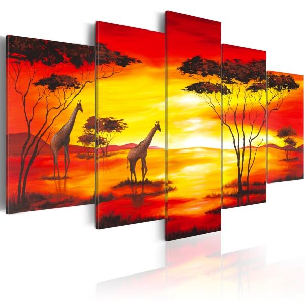 Obraz - Żyrafy na tle zachodzącego słońca (100x50 cm) A0-N1064