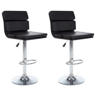 Obrotowe krzesła barowe, 2 szt., ekoskóra, czarne, 44x50x114cm