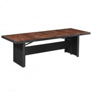 Ogrodowy stół jadalniany, polirattan i lite drewno, 240x90x74cm