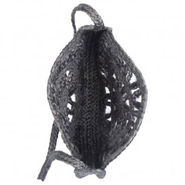 Okrągła torebka, ażurowa, ciemnoszara, ręcznie robiona, jutowa