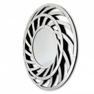 Okrągłe lustro dekoracyjne w ażurowej, lustrzanej ramie Leto