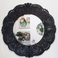 Okrągłe lustro dekoracyjne w ażurowej ramie lustrzanej Orsini