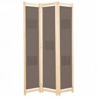 Parawan 3-panelowy, brązowy, 120x170x4 cm, tkanina