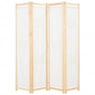 Parawan 4-panelowy, kremowy, 160x170x4 cm, tkanina