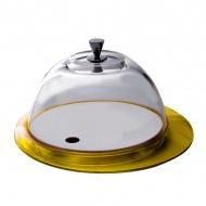Patera ze szklaną pokrywą Casa Bugatti Glamour żółta