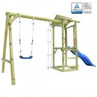 Plac zabaw z drabinką, zjeżdżalnią i huśtawką, drewno FSC