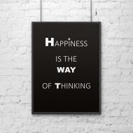 Plakat dekoracyjny 50x70 cm HAPPINESS IS THE WAY OF THINKING DekoSign czarny