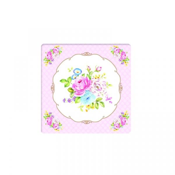 Podkładki korkowe 6 szt. Nuova R2S Vintage Bouquet kolorowe kwiaty 952 PINK