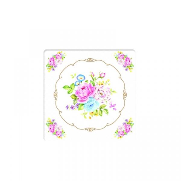 Podkładki korkowe 6 szt. Nuova R2S Vintage Bouquet kwiaty  952 WHIT