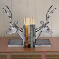 Podpórka do książek, motyw jelenia, 2 szt. aluminiowa, srebrna