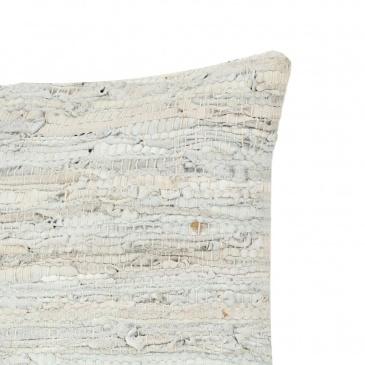 Poduszka Chindi, jasnoszara, 60x60 cm, skóra i bawełna