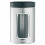 Pojemnik kuchenny z okienkiem ze stali matowej FPP 1,4l  Brabantia srebrno-czarny
