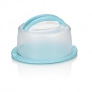 Pojemnik na ciasta okrągły z pokrywą 38x33x17 cm Kela biało-błękitny