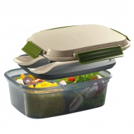 Pojemnik na lunch z wkładem chłodzącym i sztućcami 1250 ml Cilio beżowy