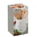 Pojemnik na przybory kuchenne + 5 bambusowych narzędzi kuchennych Nuova R2S Kitchen Elements