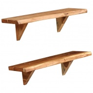 Półki ścienne, 2 szt., 60 x 20 x 16 cm, lite drewno akacjowe