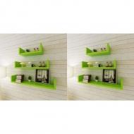 Półki ścienne, 6 szt., zielone