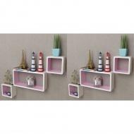 Półki ścienne kostki, 6 szt., biało-różowe