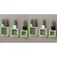 Półki ścienne kostki, 6 szt., biało-zielone