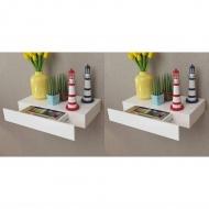 Półki wiszące z szufladami, 2 szt., białe, 48 cm