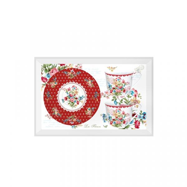 Porcelanowe filiżanki 2 szt. Nuova R2S Jardin Secret czerwony kwiaty 956 JASR