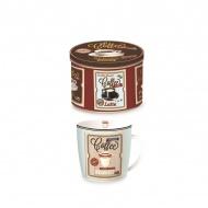 Porcelanowy kubek w blaszanym pudełku 350 ml Nuova R2S Happy Life biały