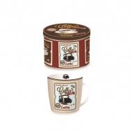 Porcelanowy kubek w blaszanym pudełku 350 ml Nuova R2S Happy Life kremowy