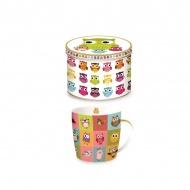 Porcelanowy kubek w blaszanym pudełku 350 ml Nuova R2S Happy Life kolorowe sowy