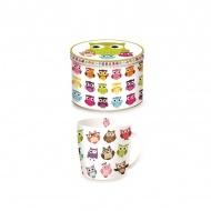 Porcelanowy kubek w blaszanym pudełku 350 ml Nuova R2S Happy Life rozbrykane sowy