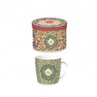 Porcelanowy kubek w blaszanym pudełku 350 ml Nuova R2S Happy Life zielony dzbanek