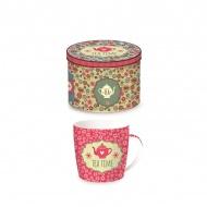 Porcelanowy kubek w blaszanym pudełku 350 ml Nuova R2S Happy Life różowy dzbanek