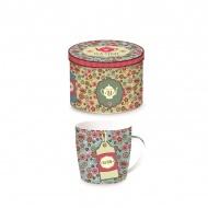 Porcelanowy kubek w blaszanym pudełku 350 ml Nuova R2S Happy Life niebieski etykieta