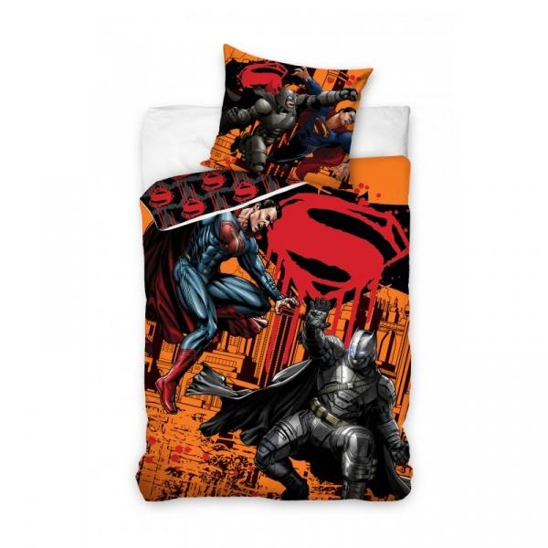 Pościel 160x200 Carbotex Batman i Superman Pojedynek pomarańczowy BATSUP8004