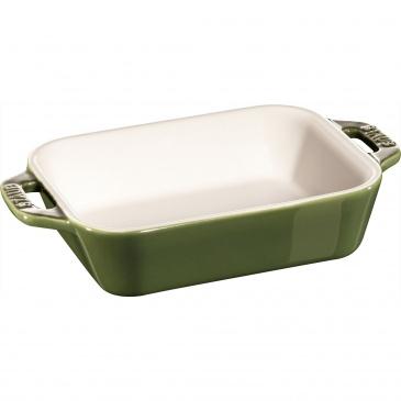 prostokątny półmisek ceramiczny 400 ml, zielony