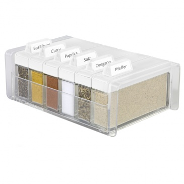 Pudełko na przyprawy + 6 pojemników EMSA Spice Box białe