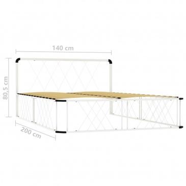 Rama łóżka, biała, metalowa, 140 x 200 cm