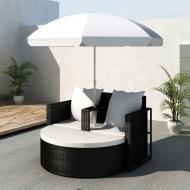 Rattanowa sofa z parasolem (Czarna)