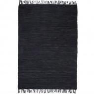 Ręcznie tkany dywanik Chindi, skóra, 120x170 cm, czarny
