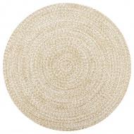 Ręcznie wykonany dywan, juta, biały i naturalny, 150 cm