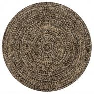 Ręcznie wykonany dywan, juta, czarny i naturalny, 150 cm
