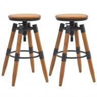 Regulowane stołki barowe, 2 szt., drewno jodłowe 53,5x53,5x79cm