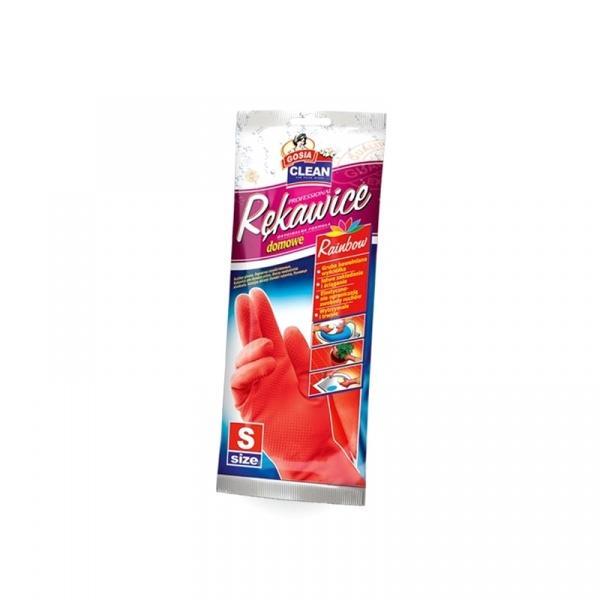 Rękawice domowe z bawełnianą wyściółką S Gosia różowe 5904771002537