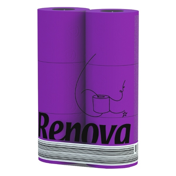RENOVA 6szt. Fioletowy Portugalski Papier toaletowy 5601028015943