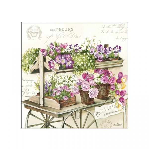 Serwetki deserowe 20 szt. 33cm Nuova R2S Napkins wóz kwiatów 414 FLER