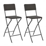 Składane krzesła, 2 szt. HDPE i stal, brązowe, rattanowy wygląd