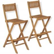 Składane krzesła barowe, 2 szt., lite drewno tekowe
