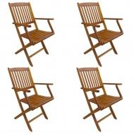 Składane krzesła ogrodowe, 4 szt., lite drewno akacjowe