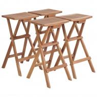 Składane stołki barowe, 4 szt., lite drewno tekowe
