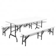 Składany stół ogrodowy z 2 ławkami, 180 cm, stal i HDPE, biały
